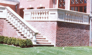 wall cap on indiana limestone railing